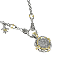 Faux Spanish Coin & Fleur De Lis Charm Pendant Necklace