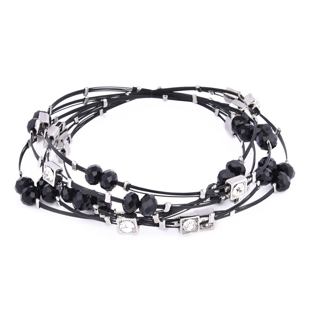 Jet Black Faceted Crystal Beads with Rhinestone Charms Bangle Set