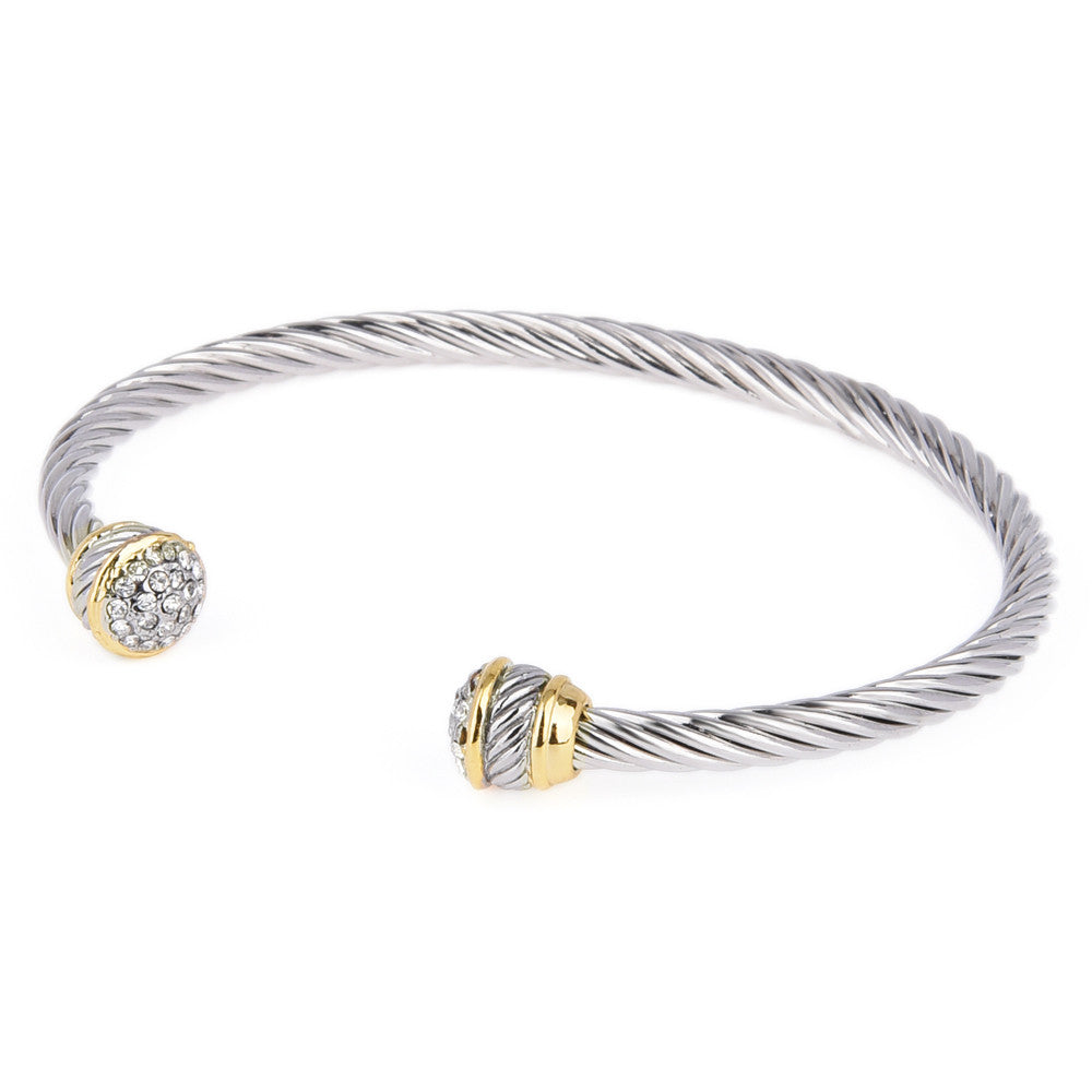 Pavé Crystal Rhinestone Two Tone Open Rope Cuff Bangle
