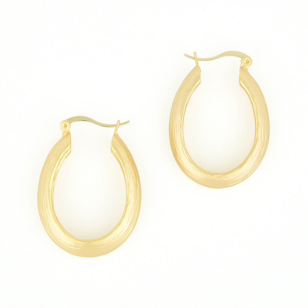 Matte gold tone brushed textured hoop earrings