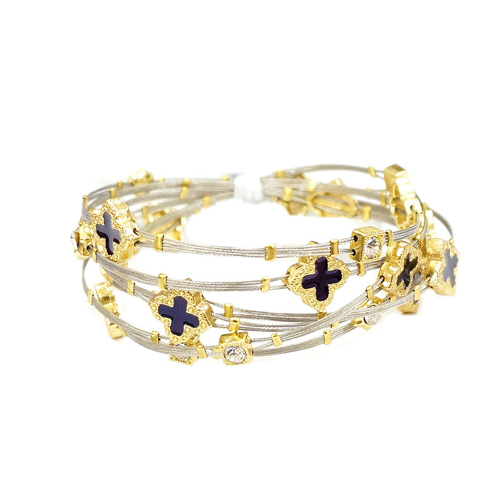 Gold Tone Colored Enamel Clover Charms with Rhinestones Bangle Sets