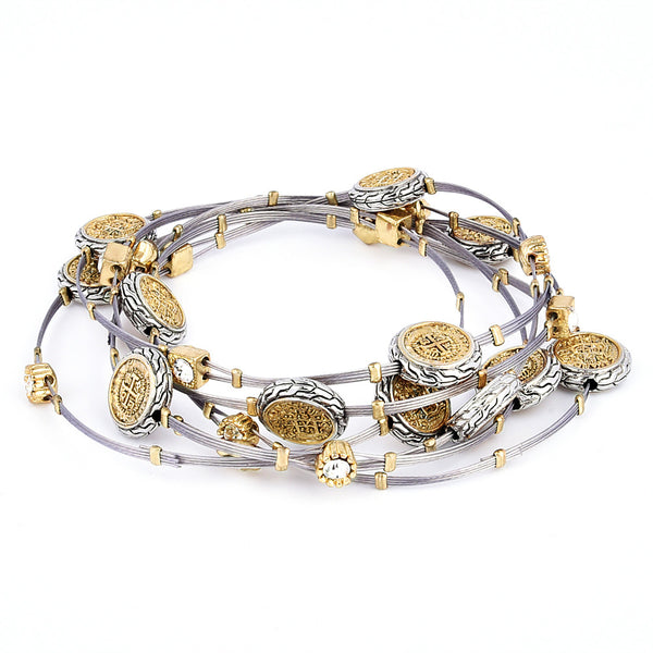 Two Tone Imitation Spanish Coin Bangles