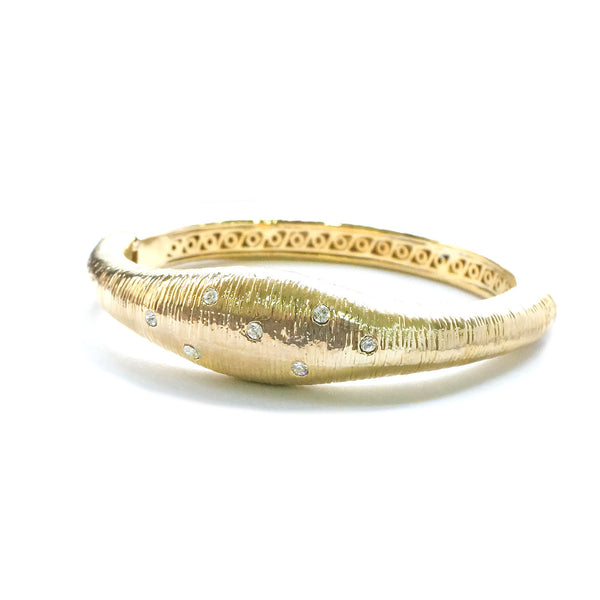 Gold Tone Satin-Thread Design with Crystal Rhinestones Oval Bangle