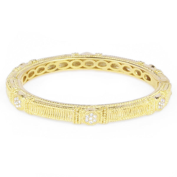 Crystal Rhinestones Gold Tone Rope & Milgrain Design Oval Bangle