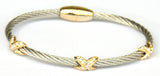 "Two Tone Pavé Cubic Zirconia Triple ""X"" Barrel Cable Bangle"