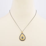 Hematite & Gold Tone Crystal Rhinestones Teardrop Filigree Pendant Necklace