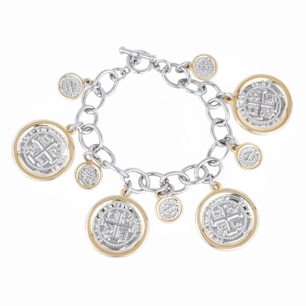 Faux Spanish Coin Charms Bracelet