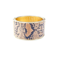 Animal Print Gold Tone Oval Hinged Cuff Bangle