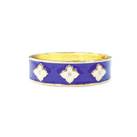 Enamel and Rhinestone Clover Gold Tone Hinged Bangle