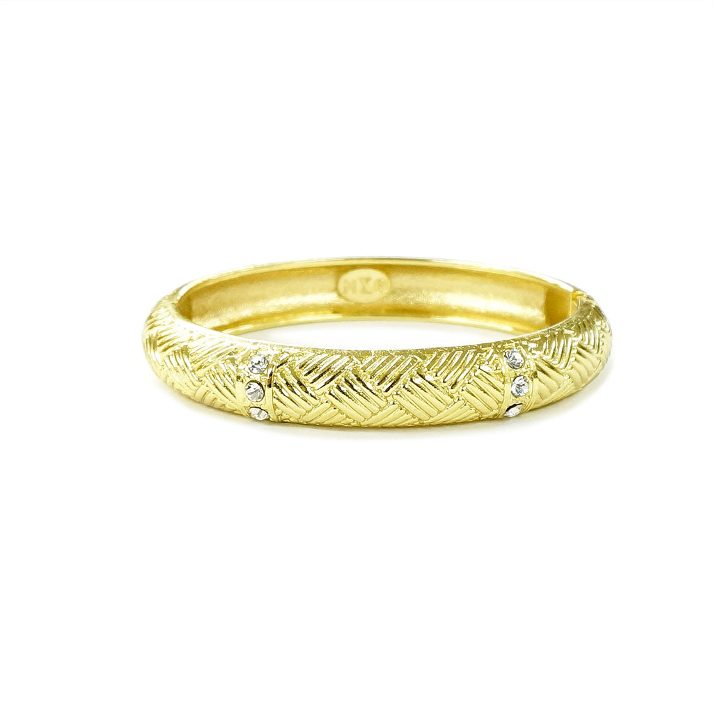 Gold Tone Weave Oval Hinged Bangle