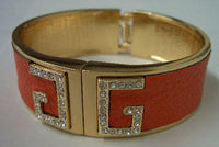 Bright Leather Crystal Rhinestones T Gold Tone Hinged Bangle