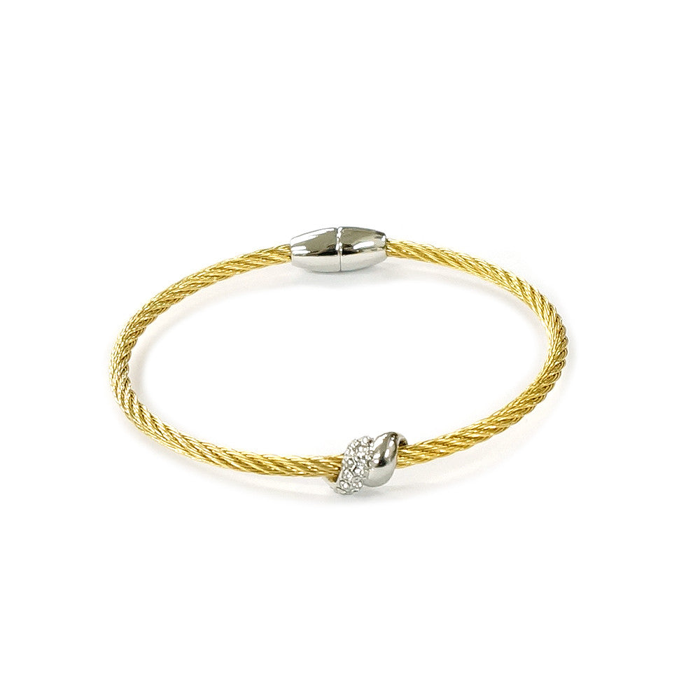 Silver Tone Knot, Gold Tone Bangle