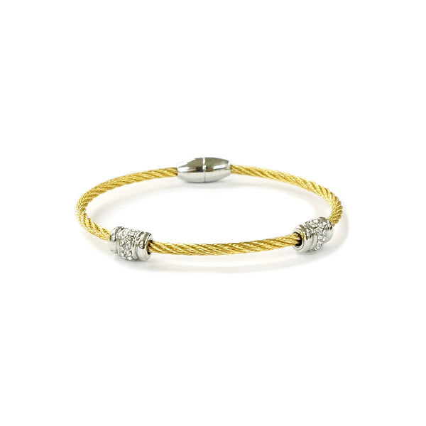 gold tone wire cable bangle