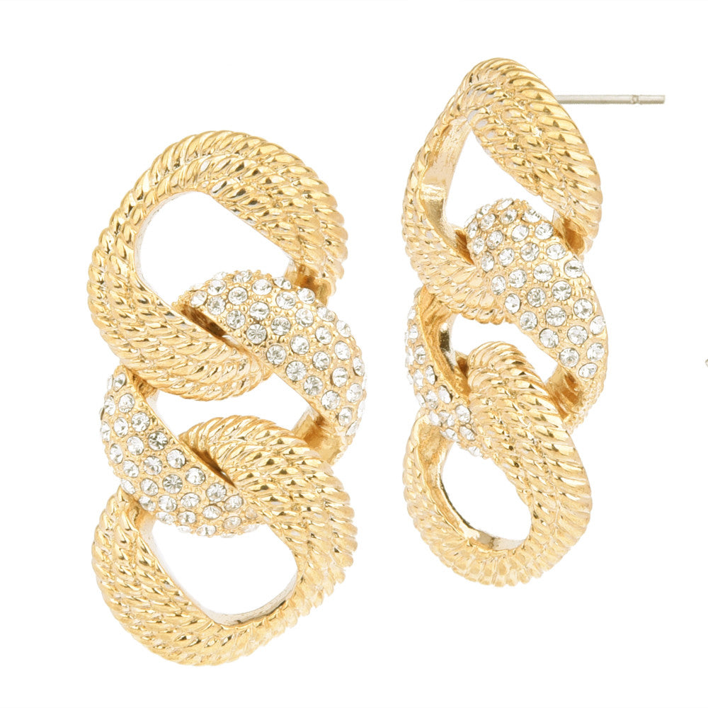Pavé Crystal Rhinestones with Rope Links Gold Tone Statement Earrings