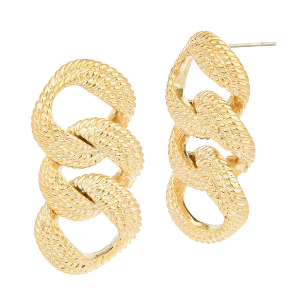 Gold Tone Rope Design Three Curb Links Statement Earrings