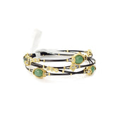 Dyed Oval Agate with Gold Tone Rhinestone Charms Bangle Set