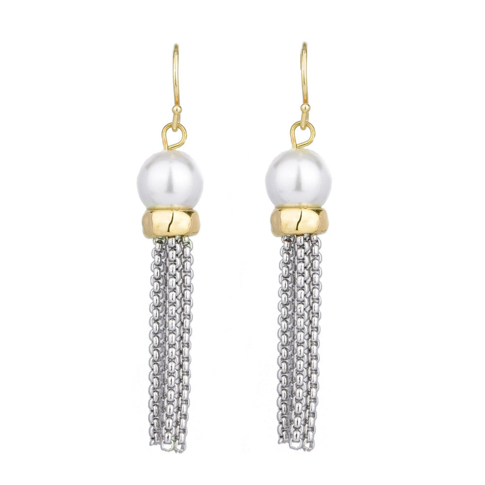 Faux Pearl Chain Tassel Drop Dangling Earrings