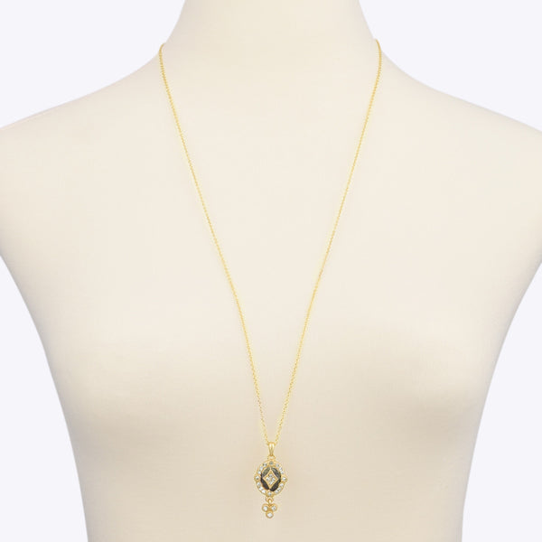 Matte Gold Tone & Hematite with Crystal Rhinestones Necklace