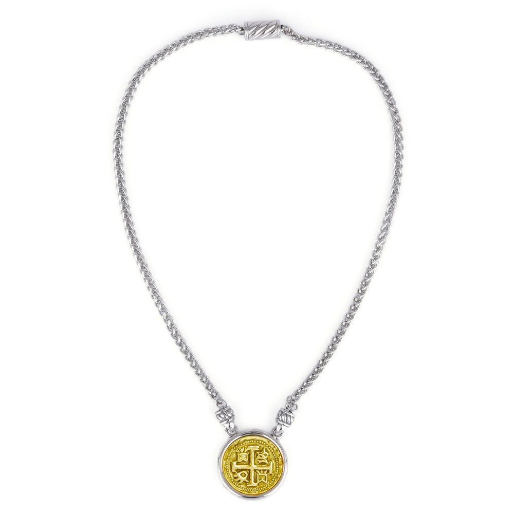 Two Tone Spanish Faux Coin Pendant Necklace