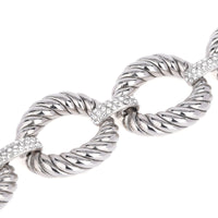 Large Rope Oval Links with Pavé Crystal Rhinestones Statement Bracelet