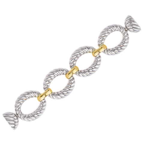 Large Rope Oval Links with Gold Tone Bar Rings Statement Bracelet