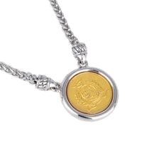 Two Tone Queen Elizabeth II Faux Coin Pendant Necklace