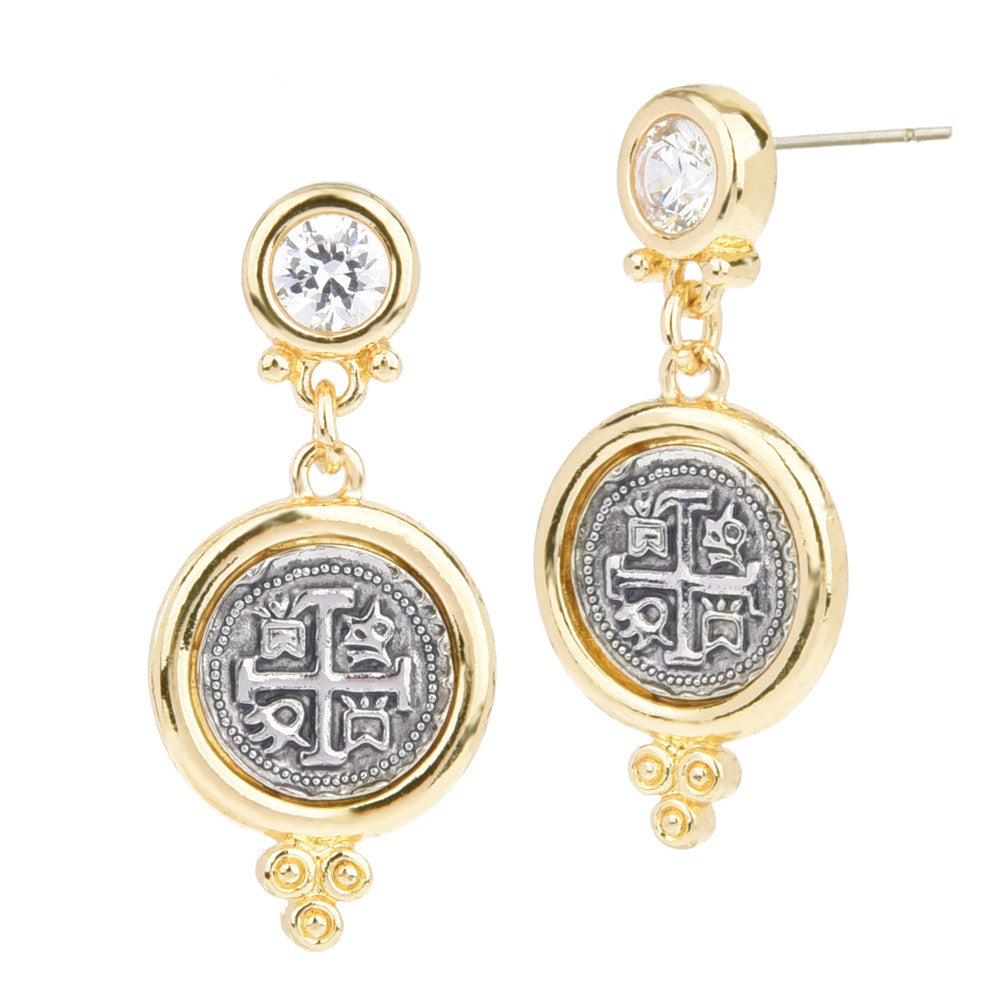 Imitation Spanish Coin & Clear CZ Dangle Earrings