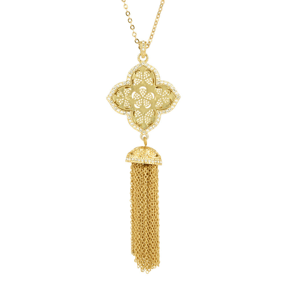 Clover with Tassels Pendant Necklace