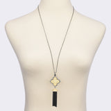 Gold Tone Clover & Hematite Tassels Pendant Necklace