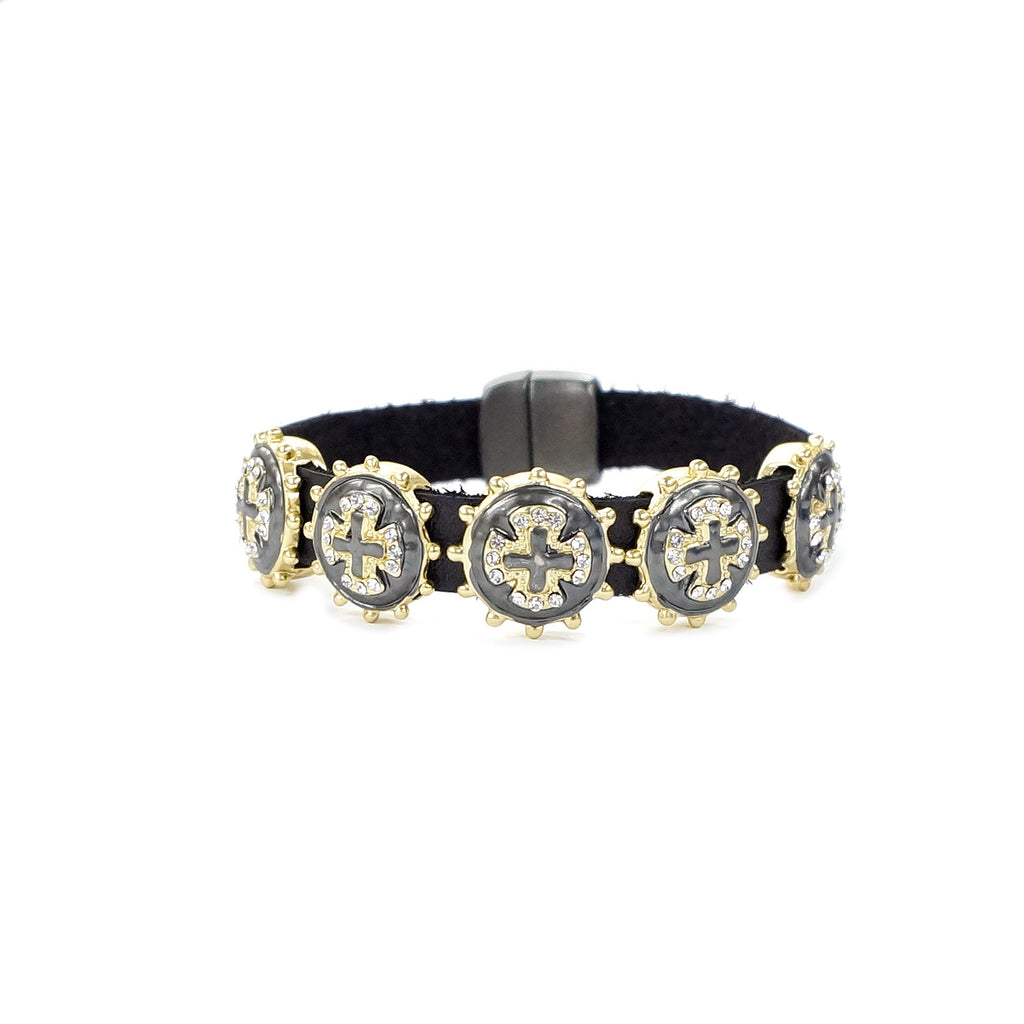 Gold Tone & Hematite Cross Charms Genuine Leather Bracelet
