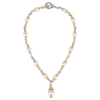 Faux Pearl Two Tone Toggle Necklace