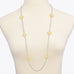 Gold Tone Starburst Flower Rhinestones Long Necklace