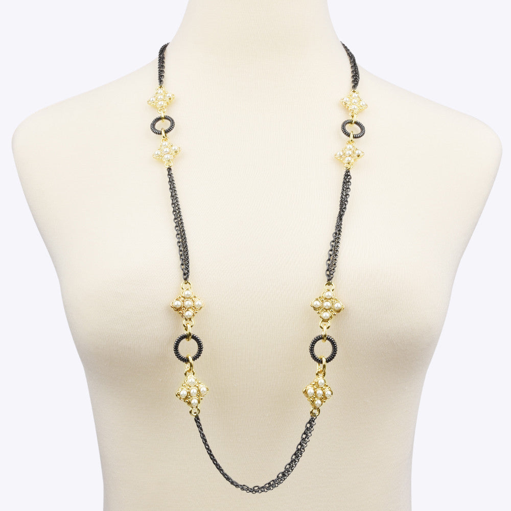 Faux Pearls Gold Tone & Hematite Long Strand Necklace
