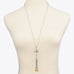 Faux Pearls Cross Two Tone Tassel Pendant Necklace