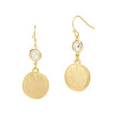 Matte Gold Tone Brushed Circle Disk with Clear CZ Dangling Earrings