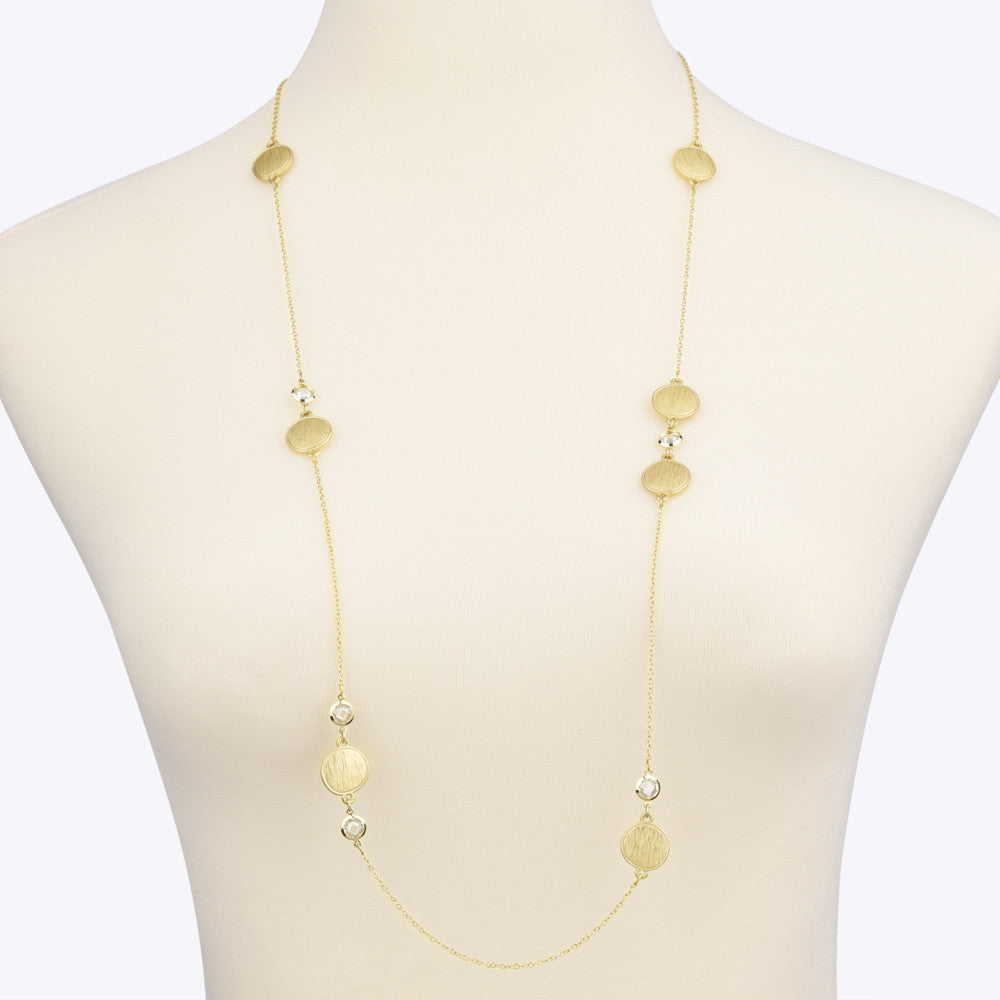 Matte Gold Tone Brushed Circle Disk with Clear CZ Long Strand Necklace