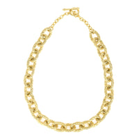 Basket weave Oval Links Gold Tone Statement Necklace