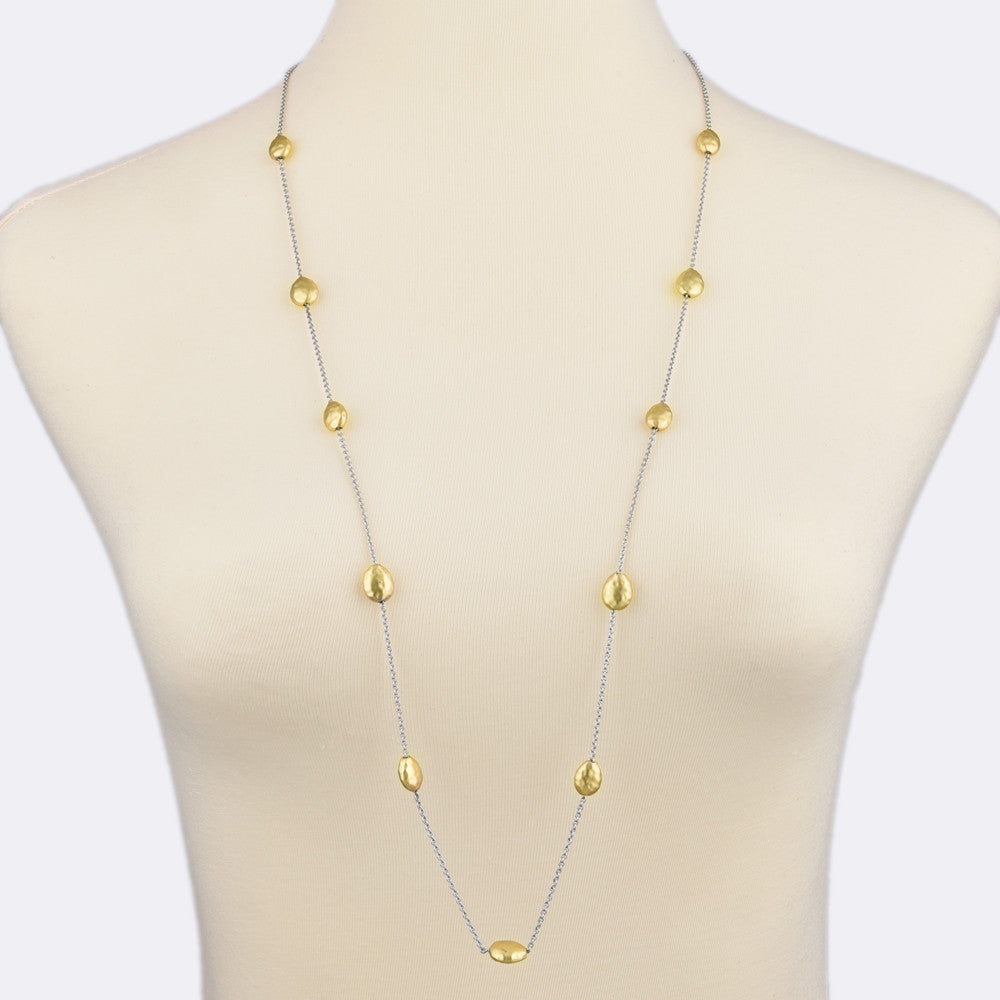 Gold Tone Satin Finish Pebbles Long Strand Necklace