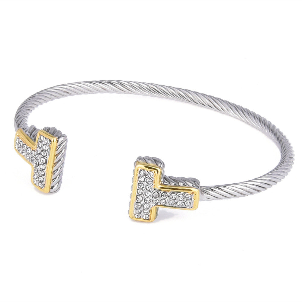 Pavé Crystal Rhinestones T shaped Open Cuff Bangle