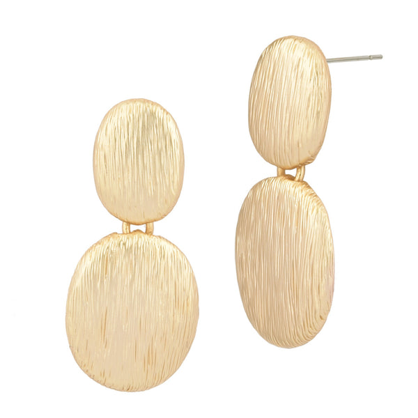 Matte Brushed Textured Gold Tone Solid Ovals Dangling Earrings