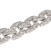 Basket Weave Design Braided Links with Pavé Crystal Rhinestone Bracelet