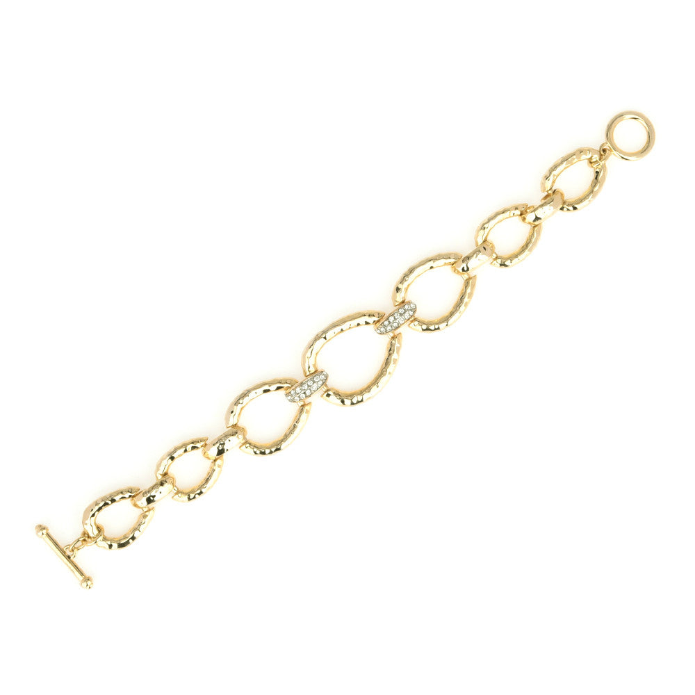 Gold Tone Hammered Oval Links with Crystal Rhinestones Bracelet