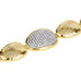 Hammered Gold Tone Pebble Station Toggle Bracelet (MOP/Rhinestones)