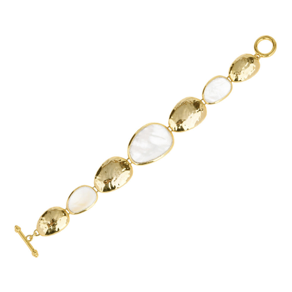 Hammered Gold Tone Station Pebble with Mother of Pearl Toggle Bracelet