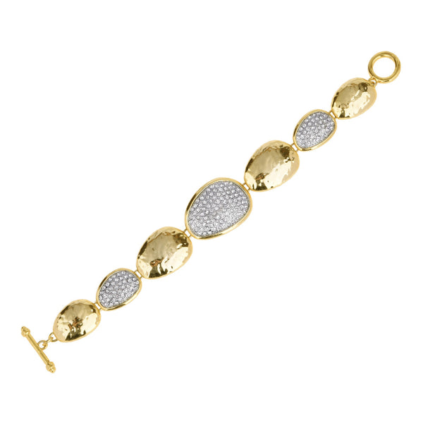 Hammered Gold Tone Station Pebble with Pave Rhinestones Toggle Bracelet