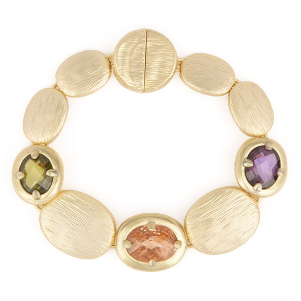 Multicolor CZ Brushed Oval Gold Tone Station Bracelet