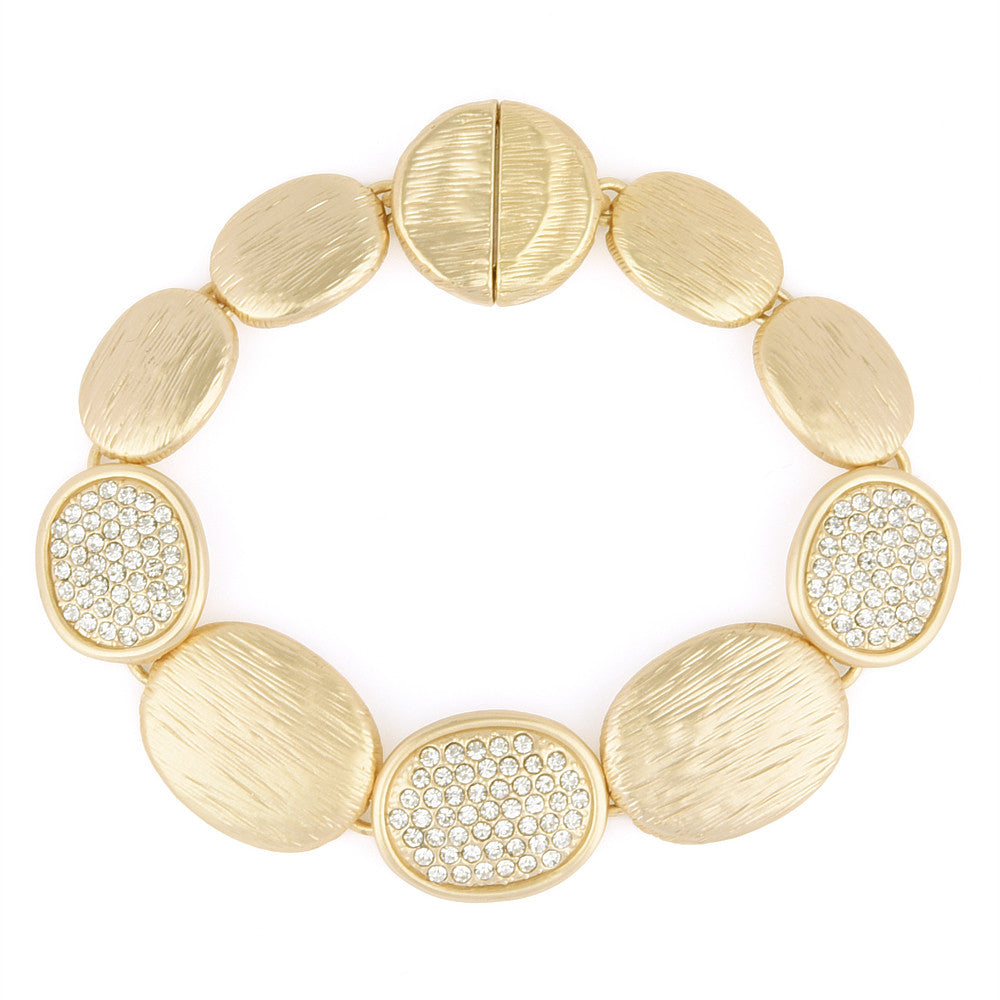 matte gold tone brushed pebbles bracelet