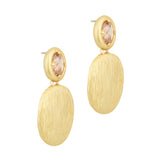 CZ with dangling gold tone pebbles dangle earrings