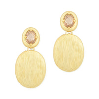 Chess Cut Oval Champagne CZ with Gold Tone Pebble Dangling Earrings