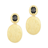 Chess Cut Oval Black CZ with Gold Tone Pebble Dangling Earrings